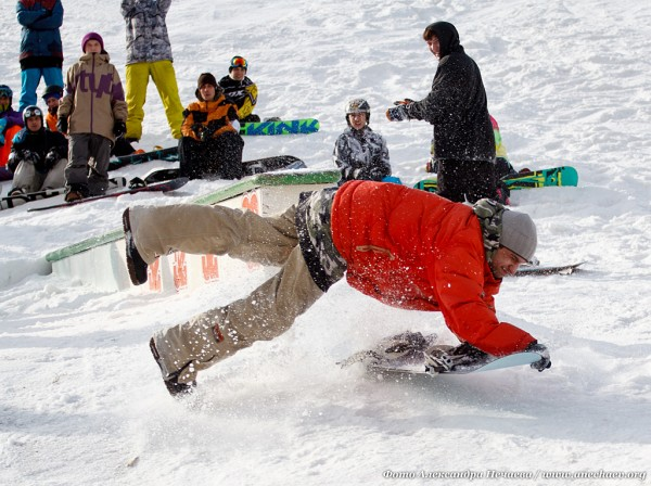 Сноуборд не только прыжки, но и падения